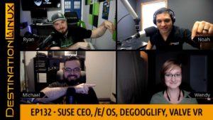 Guest Host Wendy, /e/ Mobile OS, Dropbox Linux Support, DeGoolify, Valve VR - Destination Linux 132